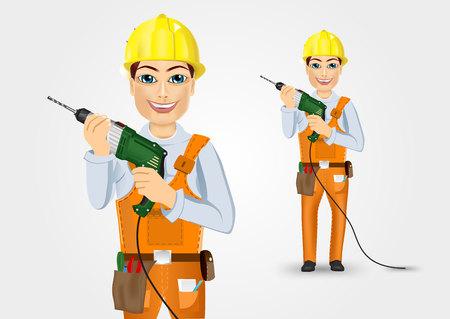 taladro electrico: retrato de t�cnica, electricista o mec�nico holding taladro el�ctrico aislado m�s de fondo blanco Vectores