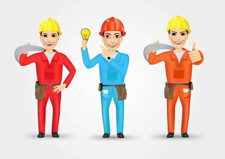 cabling: set of technical, electrician or mechanic in poses isolated over white background