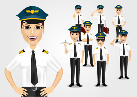 pilots: set of young friendly pilots isolated over white background