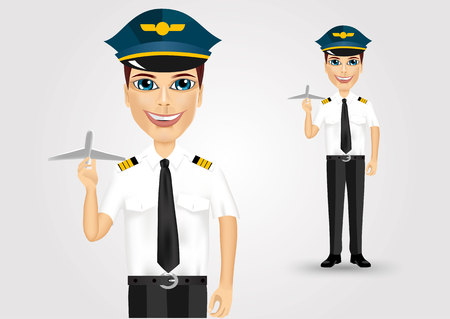 pilot: portrait of young friendly pilot holding plane model isolated over white background Illustration