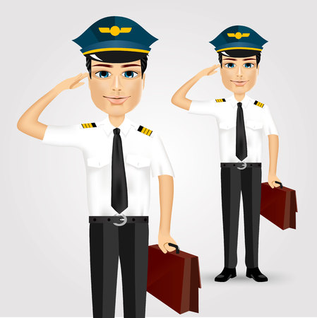 saluting: portrait of young friendly pilot with briefcase saluting isolated over white background
