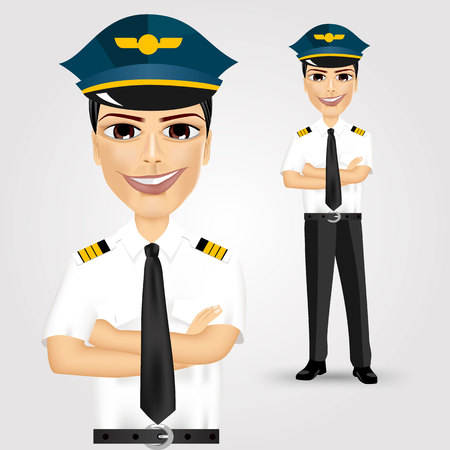 crossed arms: portrait of young friendly pilot with crossed arms isolated over white background