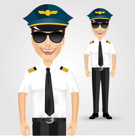 piloto: retrato de joven piloto amigable con gafas de sol aislado más de fondo blanco