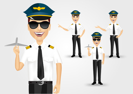 pilot: set of young friendly pilots solated over white background