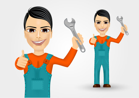 work clothes: portrait of friendly young plumber dressed in work clothes holding a wrench and giving thumbs up