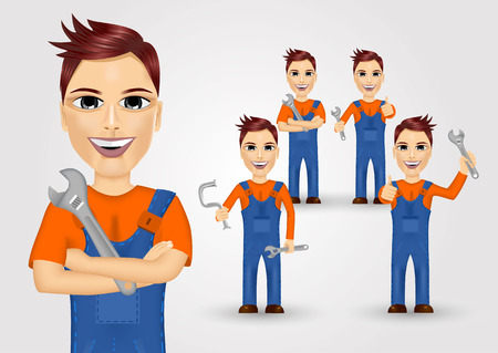 work clothes: set of friendly young plumbers dressed in work clothes and holding a wrench and water pipe
