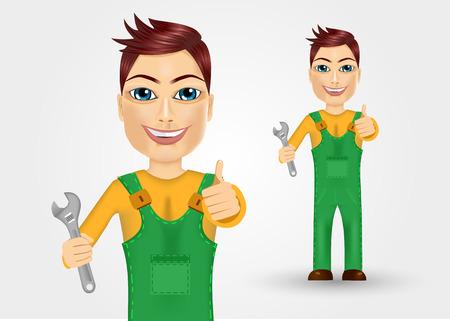 ropa trabajo: retrato de fontanero amable joven vestido con ropa de trabajo verde que sostiene una llave y dando pulgar hacia arriba Vectores