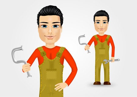 work clothes: portrait of friendly young plumber dressed in work clothes holding a water pipe and wrench
