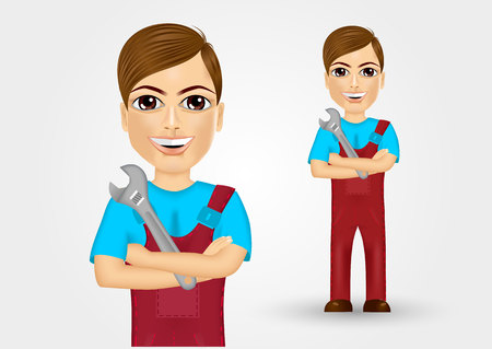 work clothes: portrait of friendly young plumber dressed in work clothes holding a  wrench in crossed arms Illustration