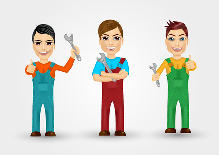 work clothes: set of friendly young plumbers dressed in work clothes holding a  wrenches and giving thumbs up