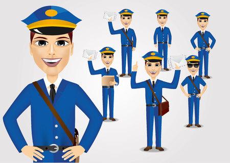 thrown: set of friendly young postmen with bag thrown over his shoulder dressed in blue uniform holding envelopes Illustration