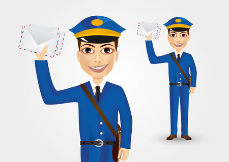 thrown: portrait of friendly young postman with bag thrown over his shoulder dressed in blue uniform holding envelopes