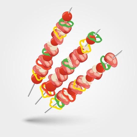 illustration of shashlik with grilled meat and vegetables Illustration
