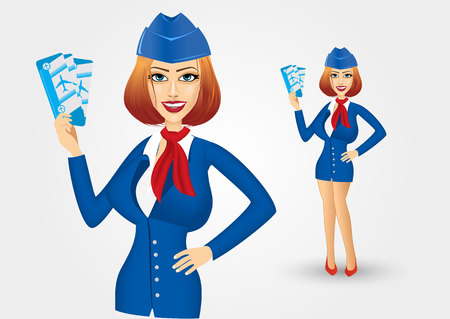 hand on hip: portrait of young beautiful stewardess dressed in blue uniform holding tickets with hand on hip