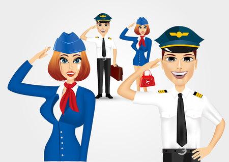 piloto: juego de la joven y bella azafata vestida con uniforme azul y saludando piloto guapo Vectores
