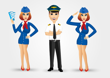 pilot: portrait of two young beautiful stewardesses dressed in blue uniform and handsome pilot with crossed arms