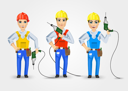 cabling: set of three technical, electrician or mechanic holding electric drill in poses isolated over white background