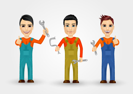 work clothes: set of three friendly young plumbers dressed in work clothes and holding a wrench and water pipe Illustration