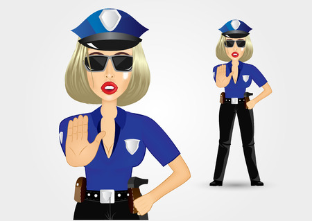 illustration of blonde female policewoman cop showing stop gesture