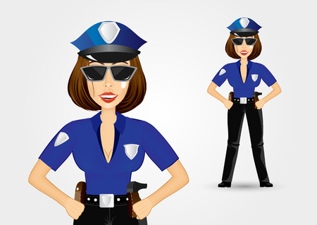 illustration of beautiful strict realistic policewoman holding her hands on her hips