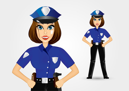 illustration of beautiful realistic policewoman holding her hands on her hips 스톡 콘텐츠