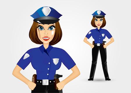mujer policia: Ilustración de hermosa mujer policía realista sosteniendo sus manos en las caderas