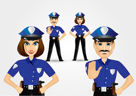 stop gesture: portrait of confident policeman showing stop gesture and policewoman with hands on hips