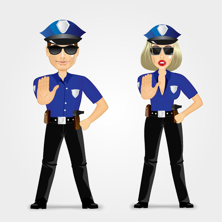 policewoman: portrait of confident policeman and policewoman showing stop gesture Illustration