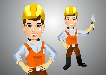 bricklaying: illustration of young handsome realistic plasterer with trowel and hands on hips