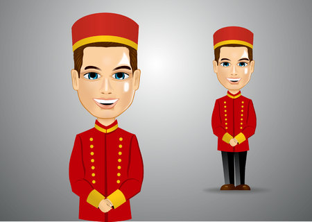 bellhop: illustration of young bellhop waiting for the clients Illustration