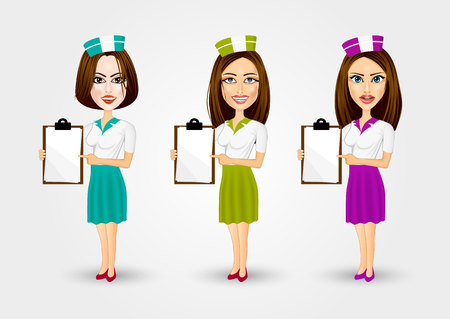 up skirt: set of beautiful waitresses pointing to menu