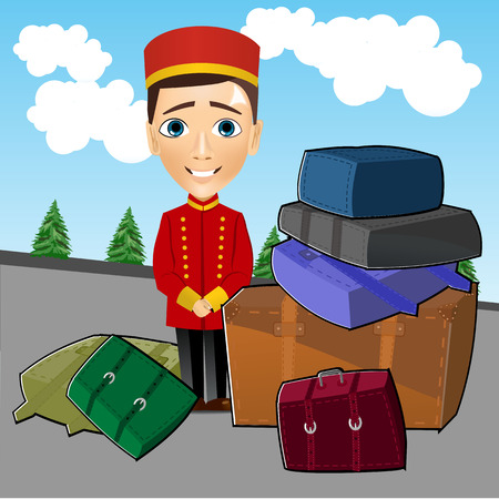 doorkeeper: illustration of cute bellboy standing near luggage Illustration