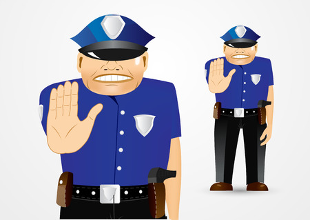 stop gesture: illustration of serious policeman showing stop gesture