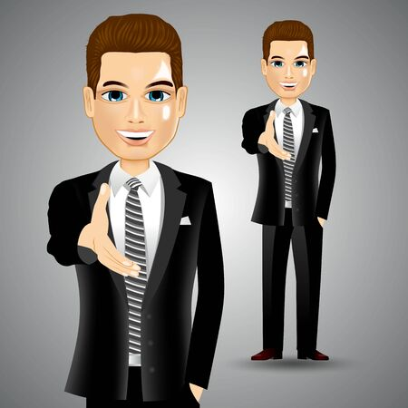 illustration of smiling realistic seccessful businessman extending his right hand for handshake