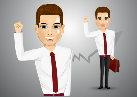 asian manager: illustration of business man with briefcase raising his right hand up