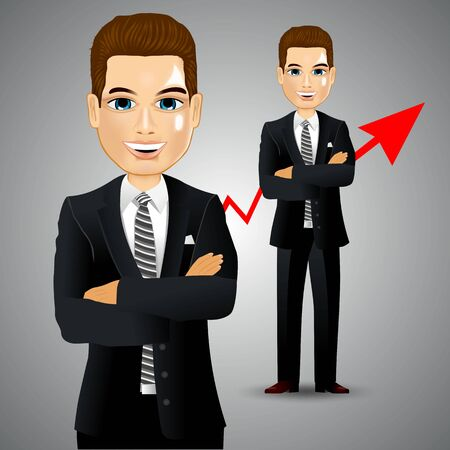 asian manager: illustration of realistic businessman with arm crossed Illustration