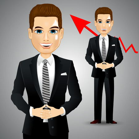 asian manager: illustration of realistic confident businessman with crossed hands Illustration