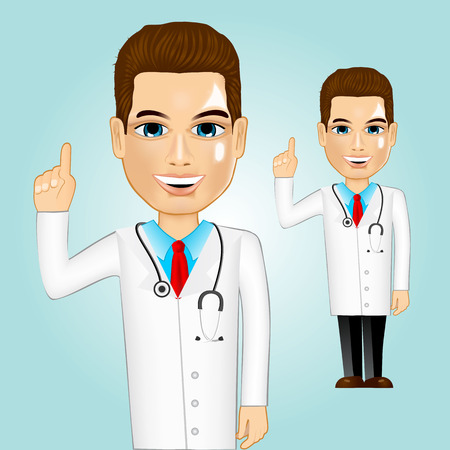 pointing up: illustration of realistic confident doctor pointing up