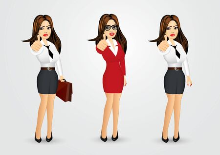 businesswomen: set of businesswomen with glasses giving thumbs up