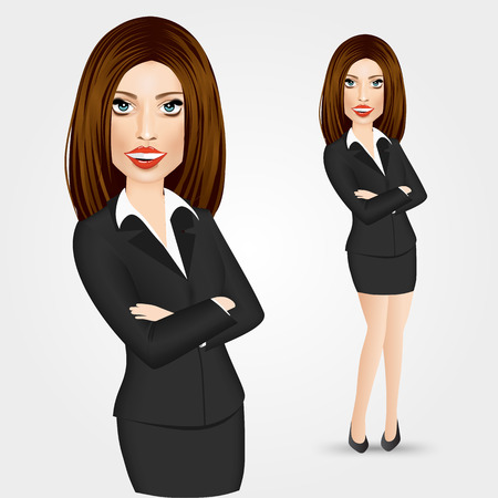 crossed arms: portrait of business woman with crossed arms isolated over white background