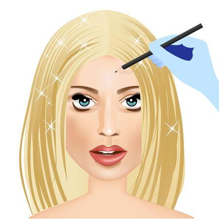 makeup artist: illustration of hand of makeup artist applying eyeliner to woman Illustration