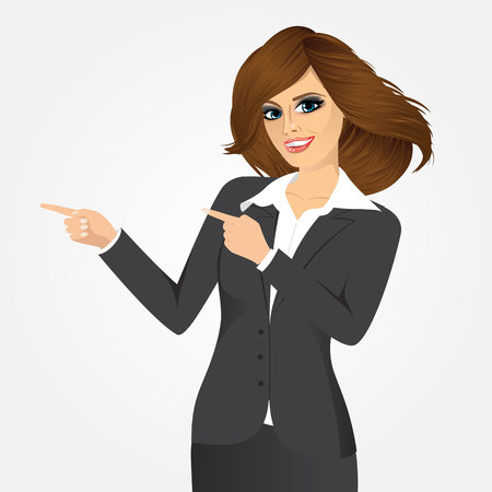 portrait of successful businesswoman pointing something isolated over white background Illustration