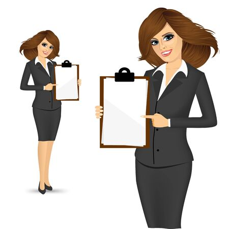 clipboard isolated: illustration of beautiful businesswoman pointing clipboard isolated over white background