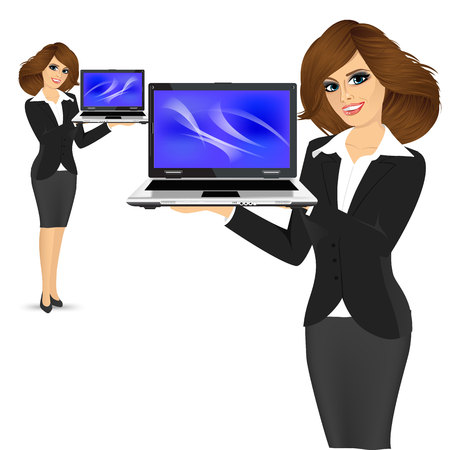 woman laptop: portrait of young successful career woman holding her laptop open isolated over white background Illustration