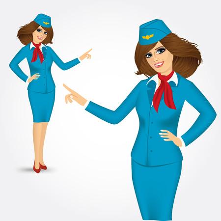 stewardess: charming stewardess dressed in blue uniform pointing the finger on white background Illustration