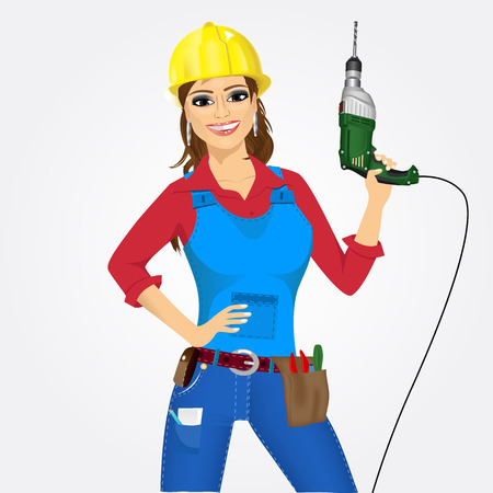 indian professional: portrait of worker woman with drill isolated over white background