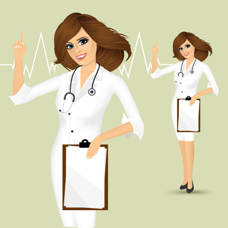 pointing up: cheerful young female doctor showing clipboard pointing up, isolated over white background