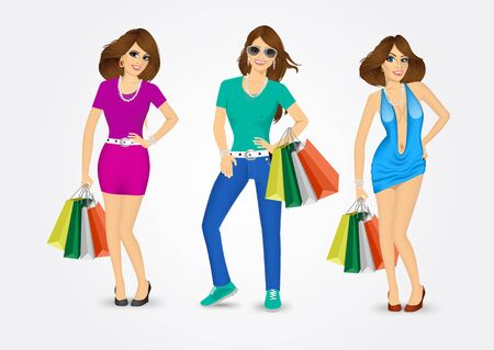 group of women carrying shopping bags isolated over white background