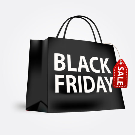 vector illustration of black friday shopping bag isolated over white background Illusztráció
