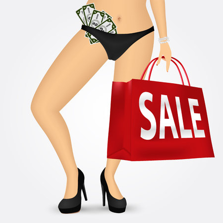 woman legs: vector illustration of woman legs wearing thongs with fan of money and high heels holding shopping bag with sale text message isolated over white background